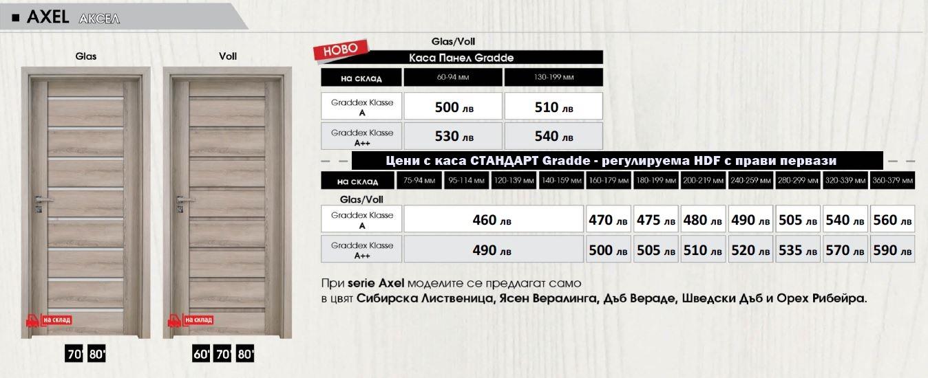 Цени за врати Gradde серия Axel