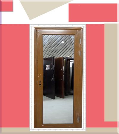 Алуминиева врата с огледало златен дъб