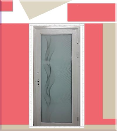 Алуминиева врата с орнаменти бял дъб
