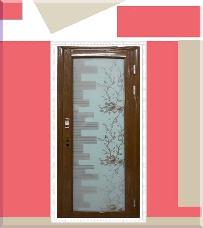 Алуминиева врата с орнаменти златен дъб